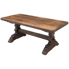 Original Antique French Farm or Trestle Table, circa 200 Years Old, Unrestored