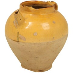 Original Antique French Water Jug w/Stunning Yellow Glaze