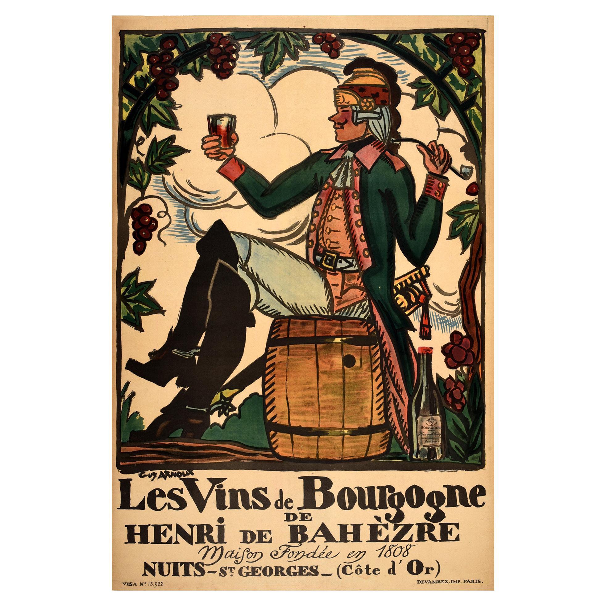 Original Antique French Wine Poster Les Vins De Bourgogne De Henri De Bahezre