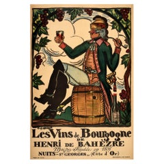 Original Antique French Wine Poster Les Vins De Bourgogne De Henri De Bahezre