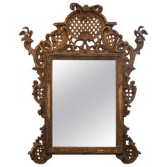 Original Antique Gilded Baroque Wall Mirror, 18th Century