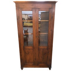 Original Antique Italian Fir Showcase with Two Doors from 1880s, Shelves