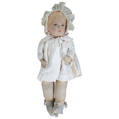 Original Antique Kathe Kruse Painted Cloth Baby Girl Doll, Germany