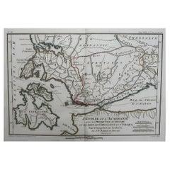 Original Antique Map of Ancient Greece, Acarnania & Aetolia, Ithaca, 1785