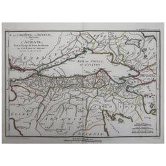 Original Antique Map of Ancient Greece, Achaia, Corinth, 1786