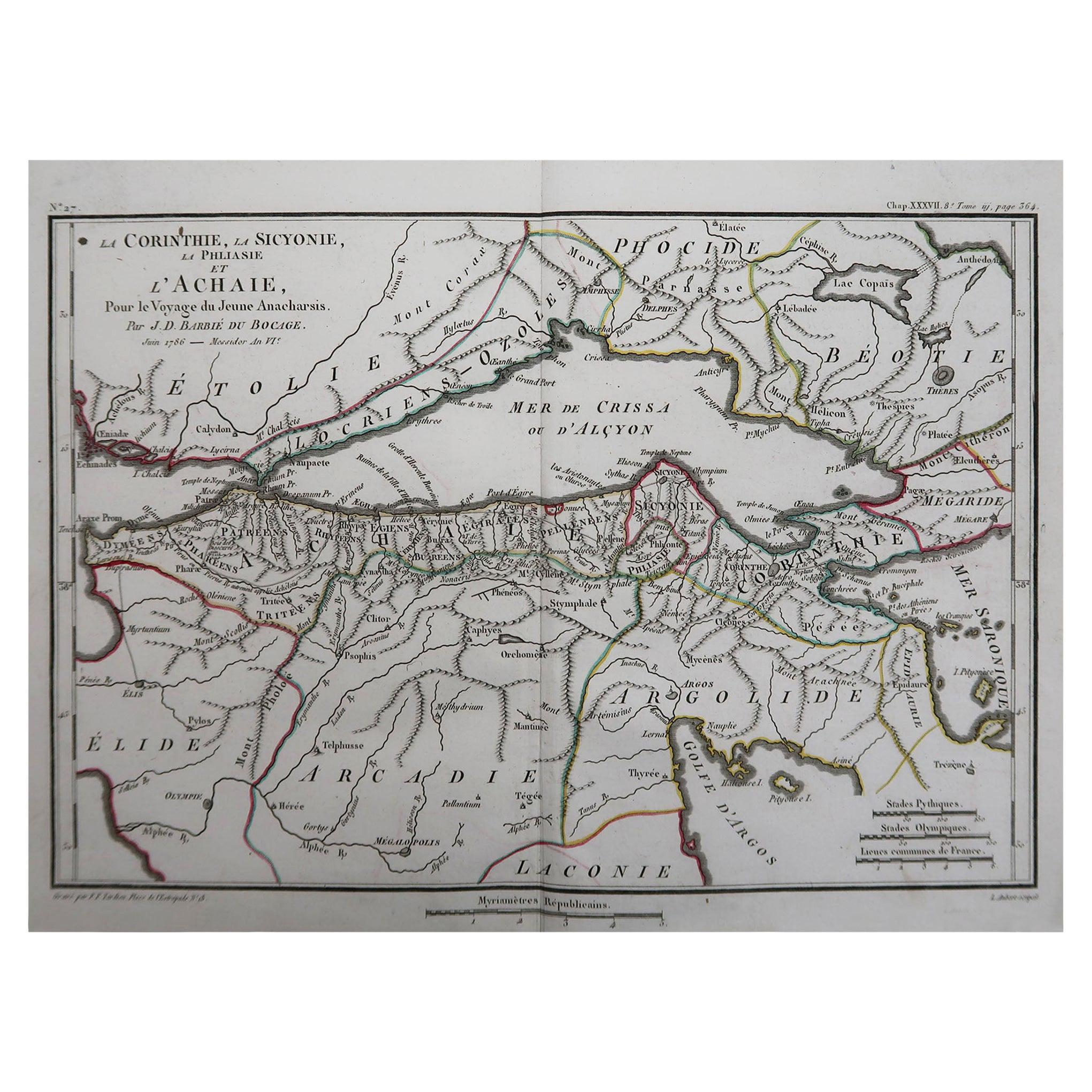 Original Antique Map of Ancient Greece, Achaia, Corinth, 1786
