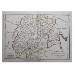 Original Antique Map of Ancient Greece, Arcadia, 1786