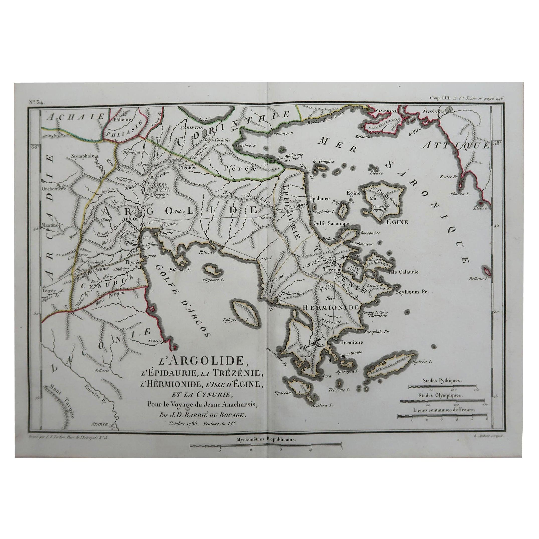 Original Antique Map of Ancient Greece, Argolis, Island of Hydra, 1785