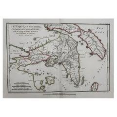 Original Antique Map of Ancient Greece Attica, Athens, 1785
