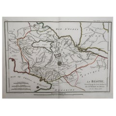 Original Antique Map of Ancient Greece- Boeotia, Thebes, 1787