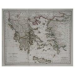 Original Antique Map of Ancient Greece by Barbie Du Bocage, 1788
