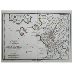 Original Antique Map of Ancient Greece, Elis, Island of Zakynthos, 1786