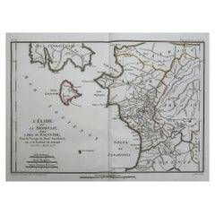 Original Antique Map of Ancient Greece, Elis, Island of Zakynthos, 1786