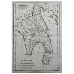 Original Antique Map of Ancient Greece, Laconia, Island of Cythera, 1786