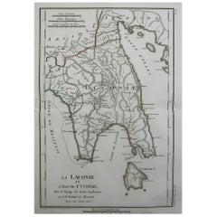 Original Antique Map of Ancient Greece, Laconia, Island of Cythera, 1786