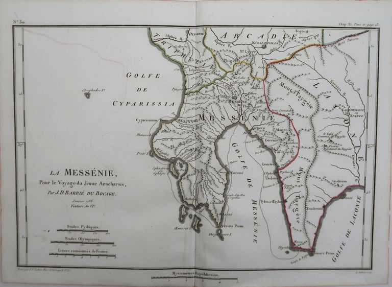 Great map of Ancient Greece. Showing the region of Messenia  Drawn by J.D. Barbie Du Bocage  Copper plate engraving by P.F Tardieu  Original hand color outline.  Published 1786  Unframed.