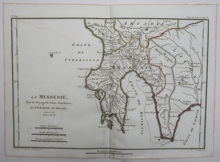 Other Original Antique Map of Ancient Greece, Messenia, 1786
