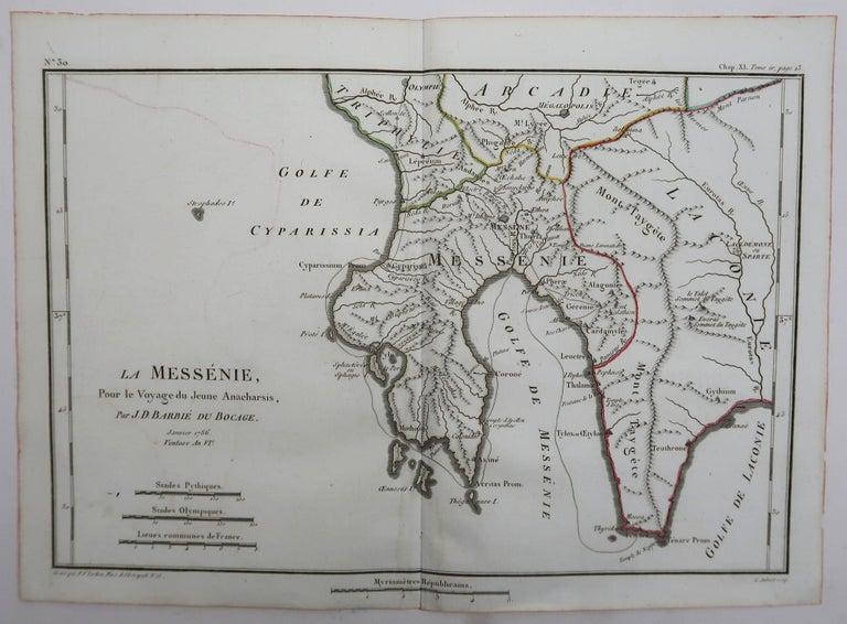 French Original Antique Map of Ancient Greece, Messenia, 1786