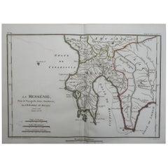 Original Antique Map of Ancient Greece, Messenia, 1786
