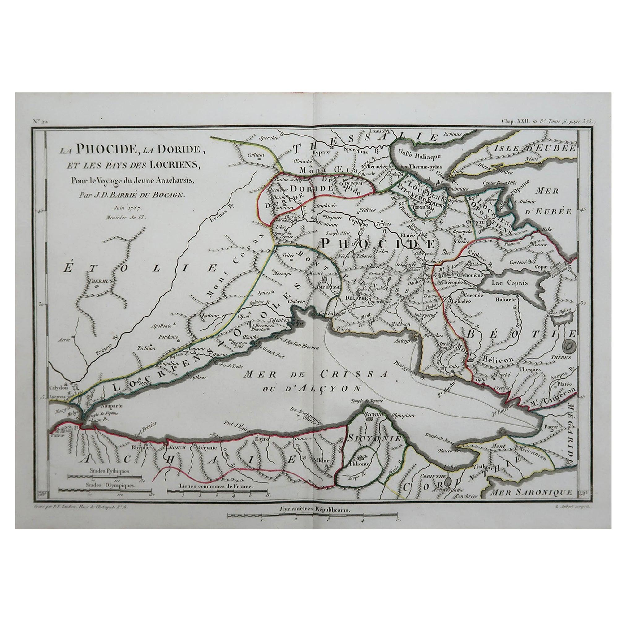 Original Antique Map of Ancient Greece, Phocis, Gulf of Corinth, 1787