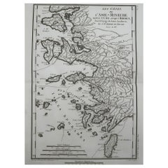 Original Antique Map of Ancient Greece, The Greek Islands, Rhodes, 1785