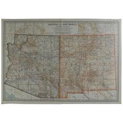 Original Antique Map of Arizona and New Mexico, circa 1890