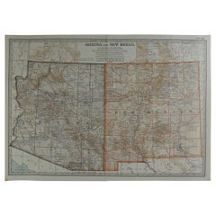 Original Antique Map of Arizona & New Mexico, circa 1890