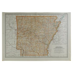 Original Antique Map of Arkansas, circa 1890