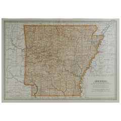 Original Antique Map of Arkansas, circa 1890