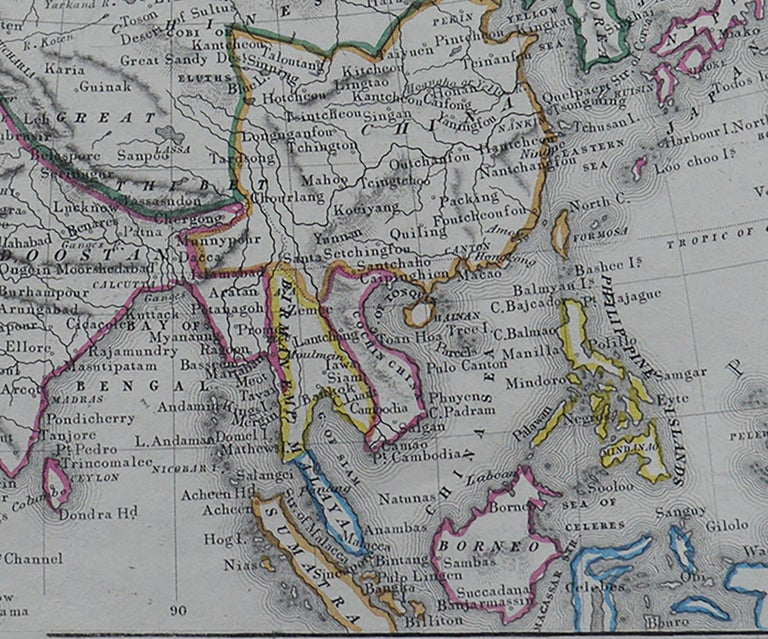 English Original Antique Map of Asia by Becker, circa 1840 For Sale