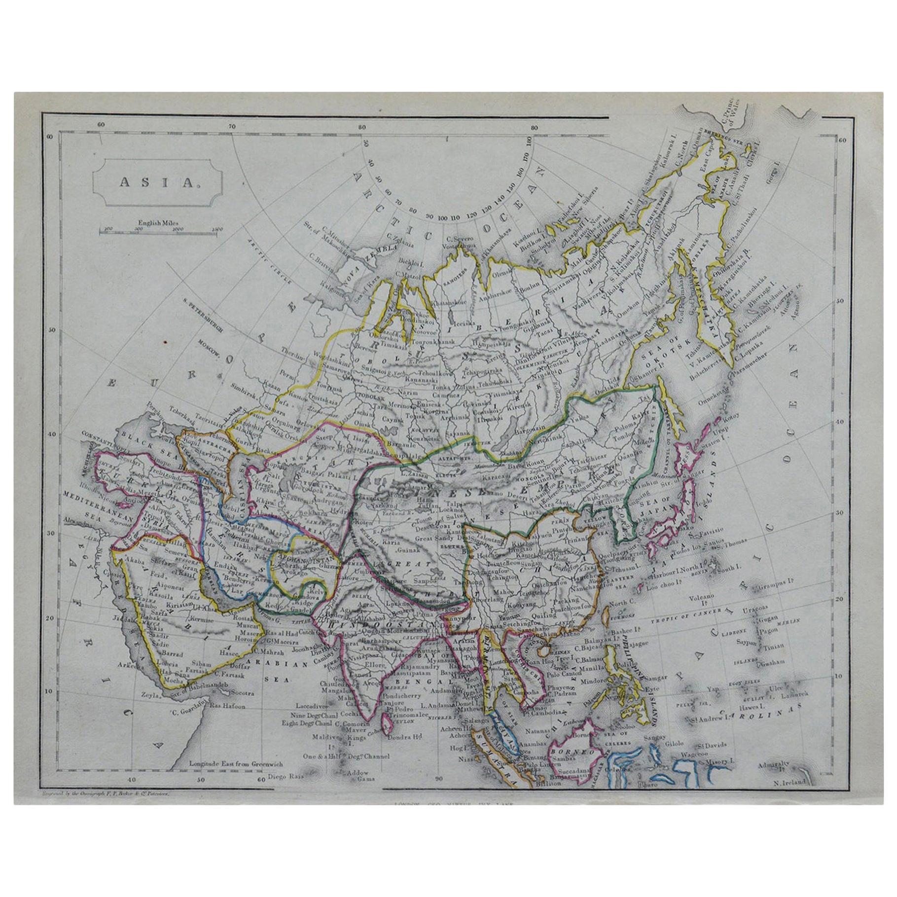 Original Antique Map of Asia by Becker, circa 1840