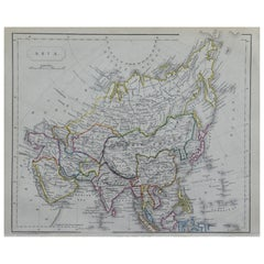 Original Antique Map of Asia by Becker, circa 1840