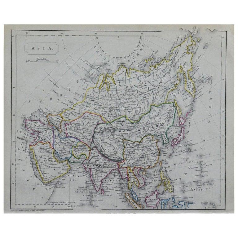 Original Antique Map of Asia by Becker, circa 1840 For Sale