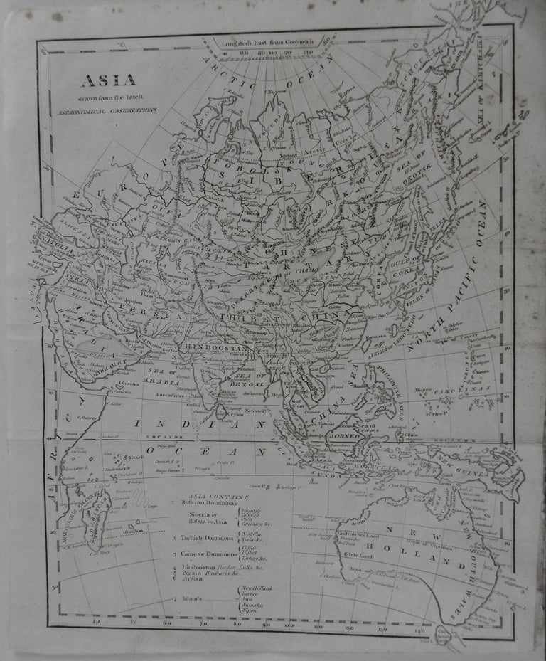 Rare map of Asia  Copper plate engraving  Published circa 1800.  Originally from Barclay's Dictionary  Unframed.