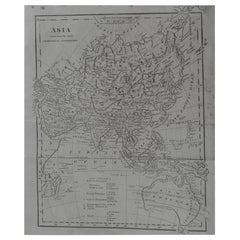 Original Antique Map of Asia, circa 1800