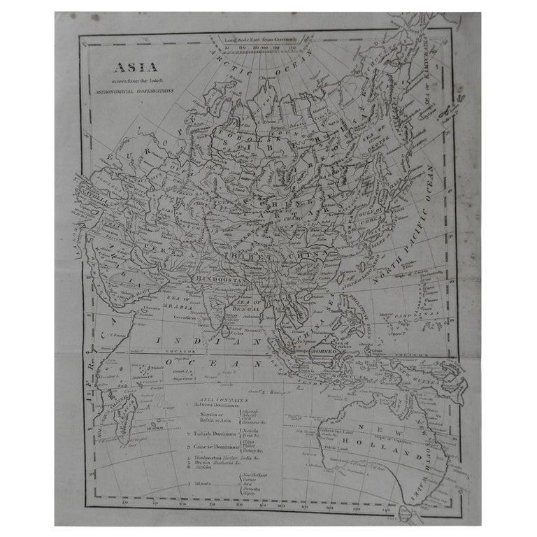 Original Antique Map of Asia, circa 1800 For Sale