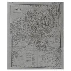 Original Antique Map of Asia, circa 1800
