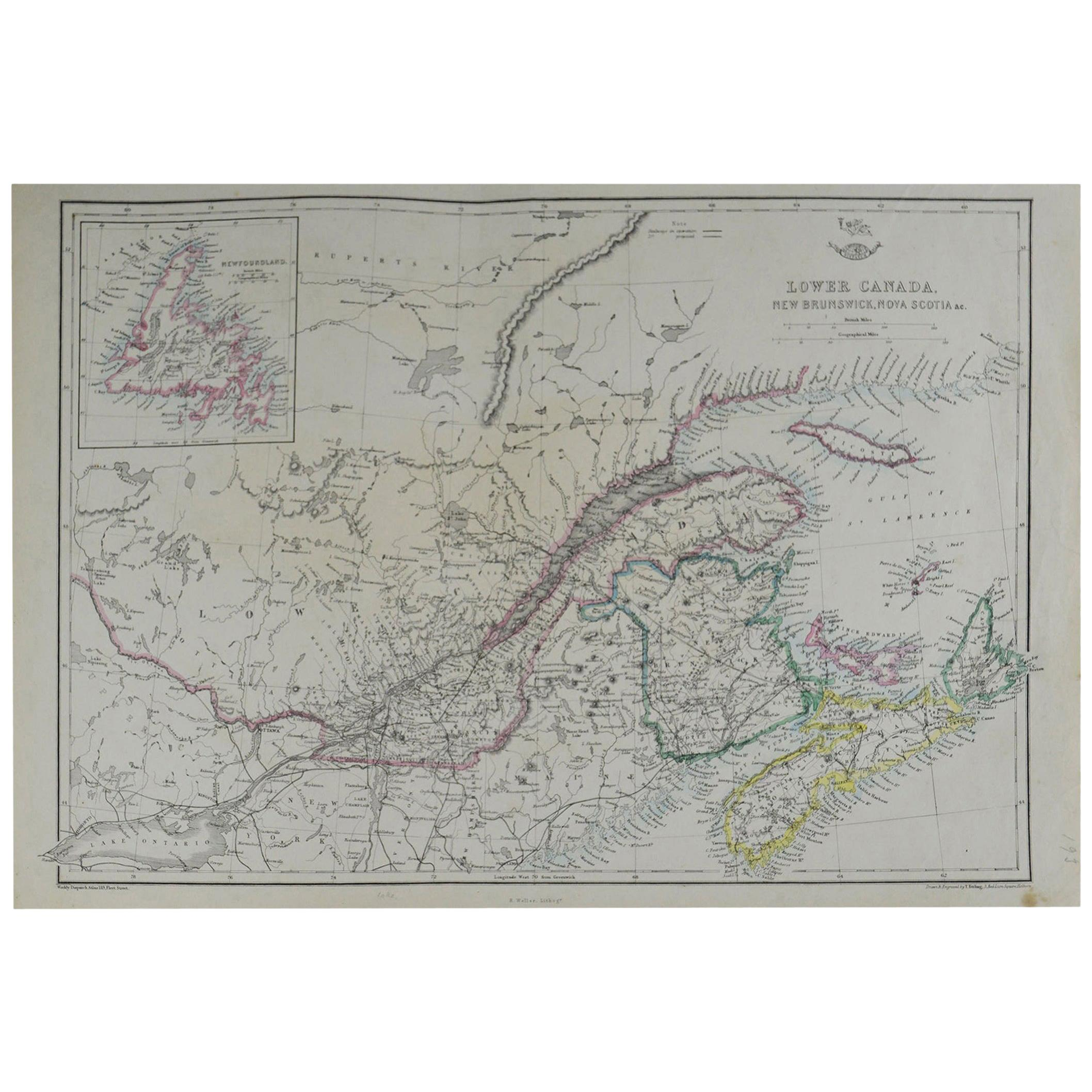 Original Antique Map of Canada by T. Ettling, 1861