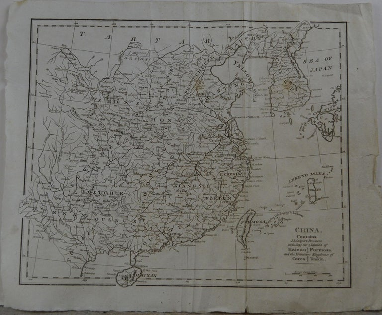 Rare map of China  Copper plate engraving  Published, circa 1800.  Originally from Barclay's Dictionary  Unframed.