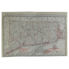 Original Antique Map of Connecticut & Rhode Island by Rand McNally, circa 1900