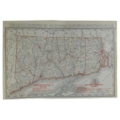 Original Antique Map of Connecticut & Rhode Island by Rand McNally, circa 1900