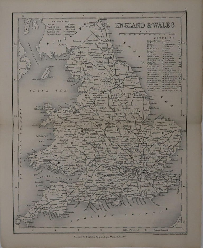 Great map of England and Wales  Drawn and engraved by J.Archer.  Published by Tallis, circa 1840.  Unframed.