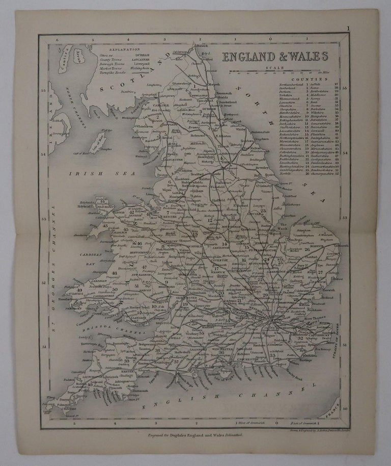 English Original Antique Map of England and Wales by J.Archer, circa 1840 For Sale