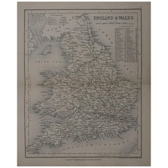 Original Antique Map of England and Wales by J.Archer, circa 1840