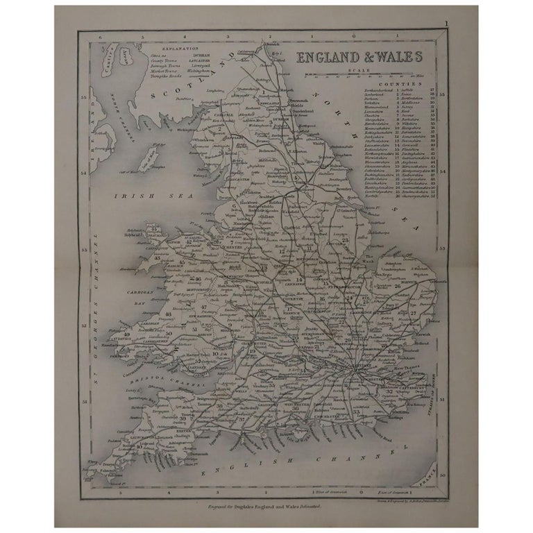 Original Antique Map of England and Wales by J.Archer, circa 1840 For Sale