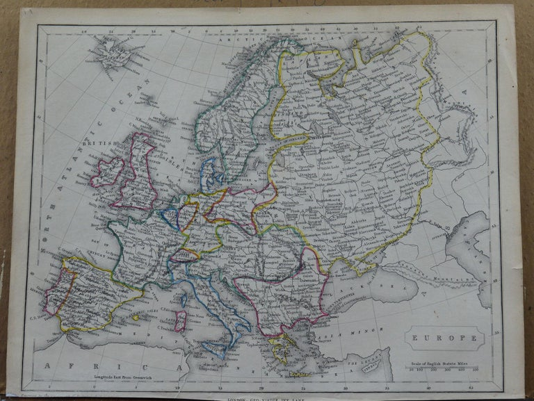 Great map of Europe  Steel engraving with original color outline  Engraved by Becker  Published by Virtue, circa 1840.  Unframed.  Repair to a minor tear on bottom edge.
