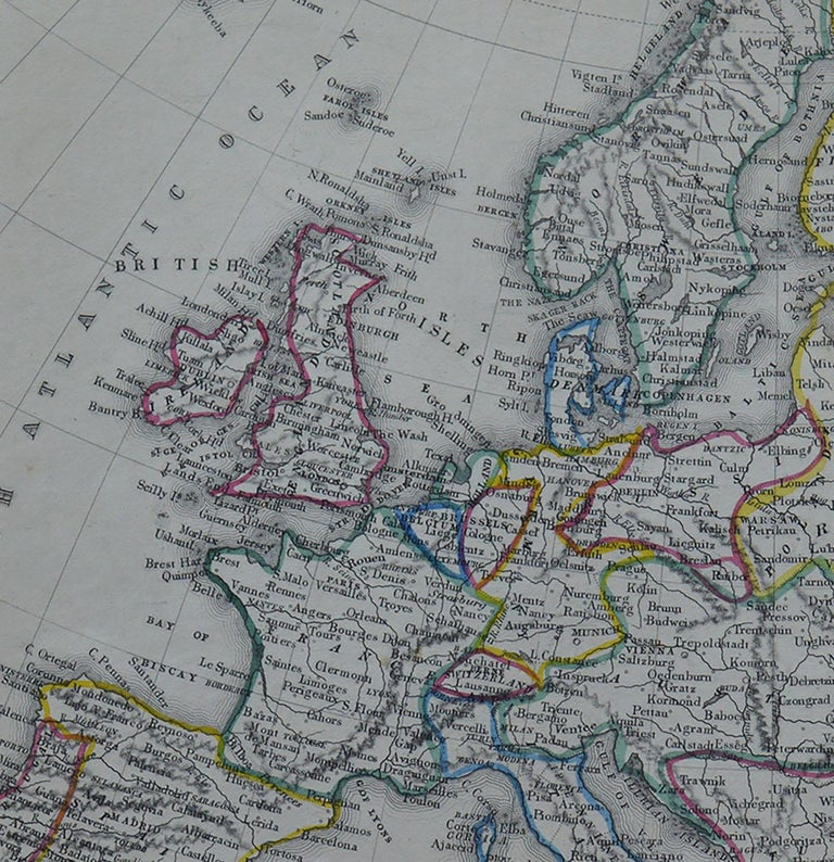 English Original Antique Map of Europe by Becker, circa 1840 For Sale