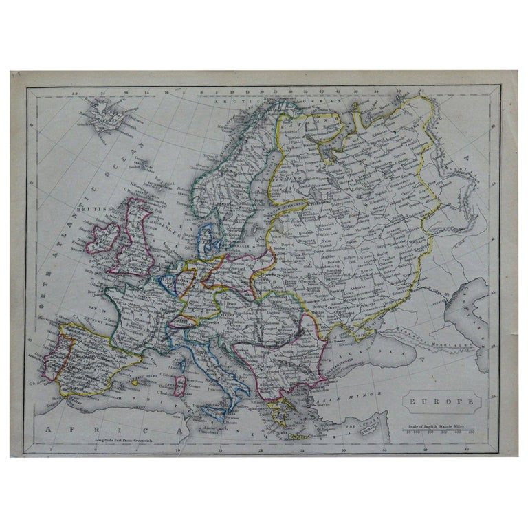 Original Antique Map of Europe by Becker, circa 1840