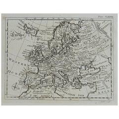 Original Antique Map of Europe, circa 1790