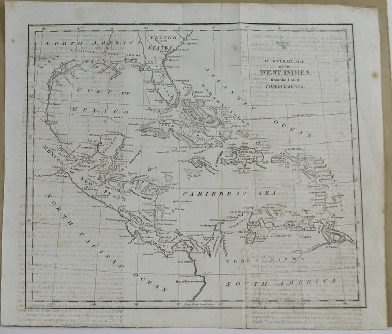 English Original Antique Map of Florida & The Caribbean, circa 1800